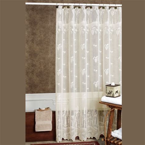 Bathroom Curtains Pine Cone Lace Shower Curtain