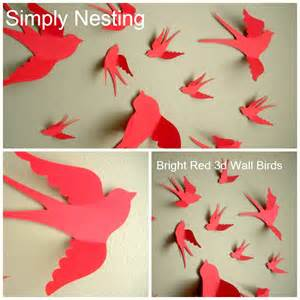 paper bird wall decor 3d paper wall birds 3d wall nursery wall whimsical