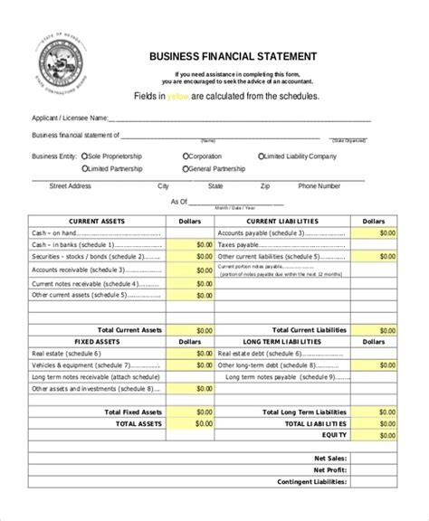 sample financial statement form 10 examples in pdf word