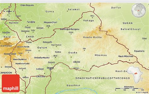 physical map of central africa physical 3d map of central republic