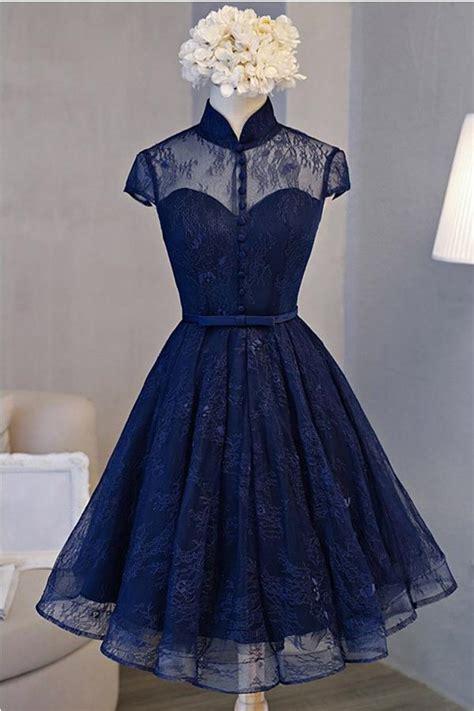 vintage   high neck short sleeve navy blue lace