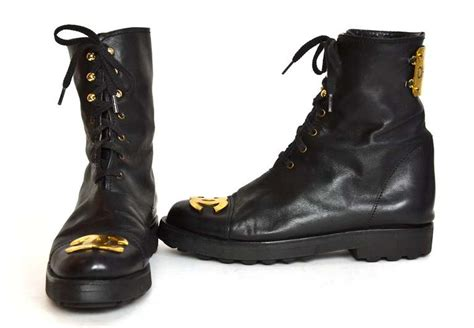 chanel combat boots chanel 90s black leather vintage combat boots w gold cc