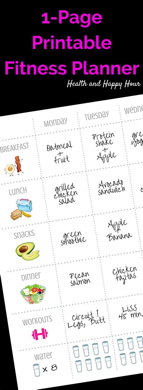printable diet and exercise planner 1 page printable fitness planner weekly cleaning