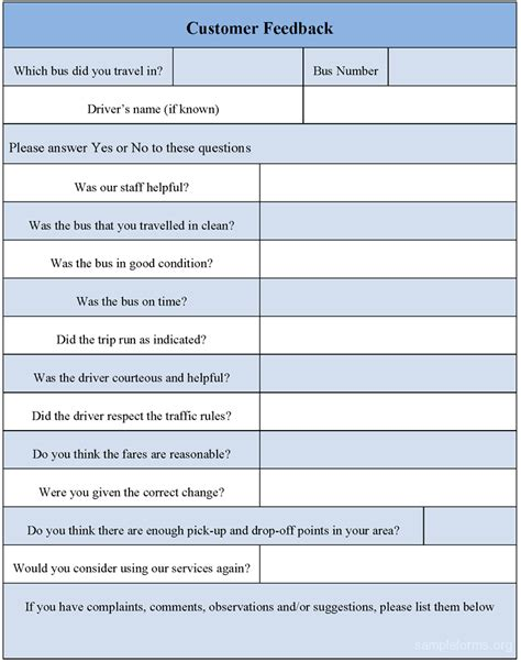 feedback template customer feedback form sle customer feedback form