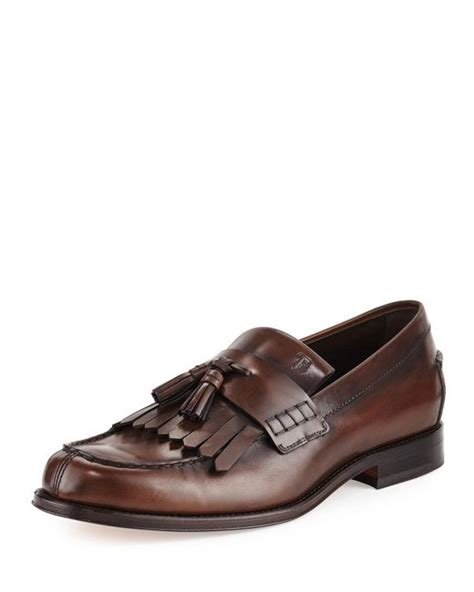 tods tassel loafer tod s kiltie leather tassel loafer in brown for lyst