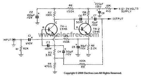 c945 transistor switch dynamic microphone prelifier circuit using c945