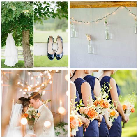 wedding color inspiration peach and navy rustic