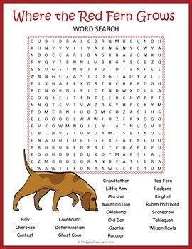 printable version of where the red fern grows where the red fern grows word search worksheet a
