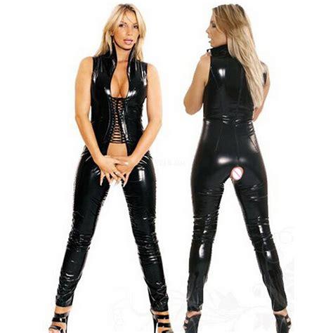 imagenes de latex leggings sexy women faux leather bodycon fetish jumpsuit black pvc