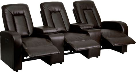 leather recliner theater seating eclipse series automated brown leather 3 seat reclining
