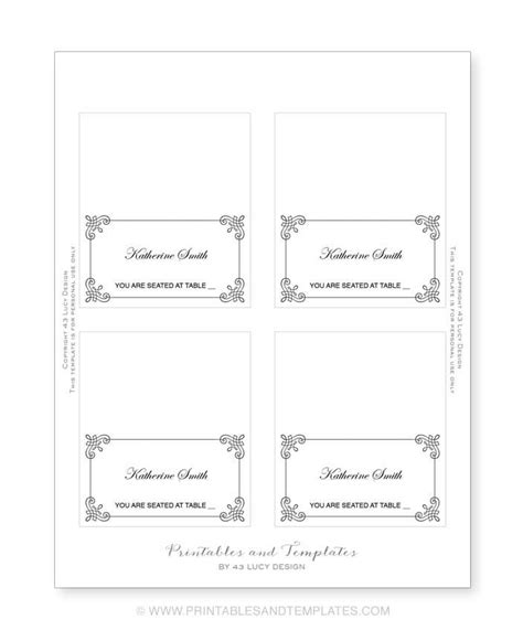 Free Printable Blank Place Card Template by Seating Place Cards Template Resume Builder