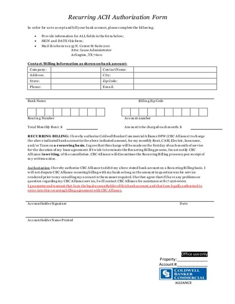 Recurring Ach Authorization Form Ach Authorization Form Template