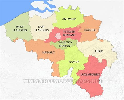 belgium political map belgium provinces map showing the administrative divisions