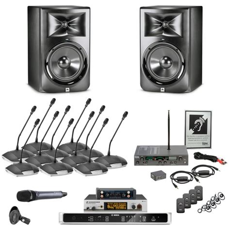 room recording system elite conference room sound system with jbl lsr308 speakers and bosch digital discussion system