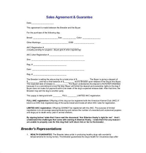 sales agreement contract template sales agreement images