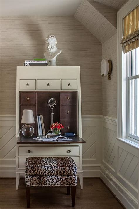 Wainscoting Office by White Desk Transitional Den Library Office