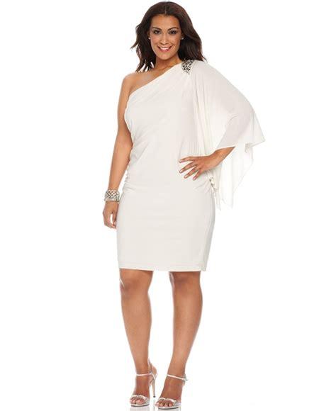 plus size one shoulder dress 24