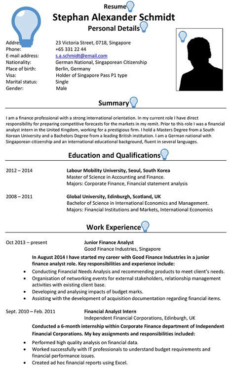 singapore cv sle careerprofessor works