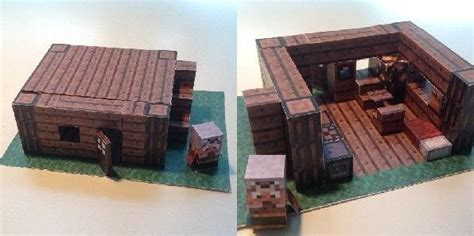 Minecraft Papercraft House - minecraft papercraft advanced mini house with furniture