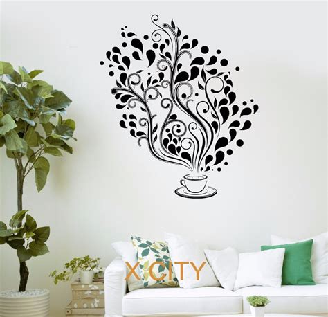 sticker stencils for walls ୧ʕ ʔ୨coffee cafe fancy tree tree kitchen bar restaurant office wall wall decal sticker