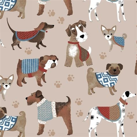 puppy fabric fleece show dogs beige puppies paw prints animal fleece fabric print by the yard