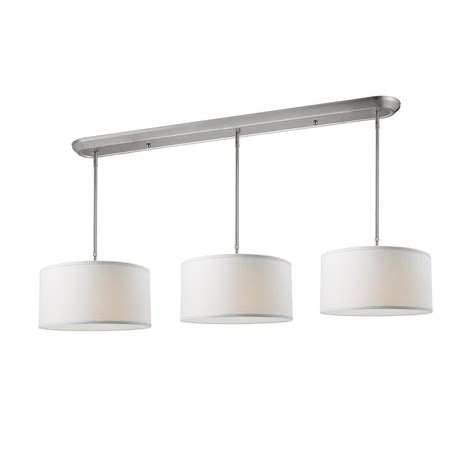 Brushed Nickel Kitchen Island Lighting Shop Z Lite Albion 60 In W 9 Light Brushed Nickel Kitchen Island Light With Fabric Shade At