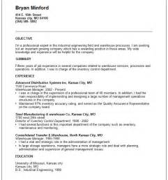 Resume Exles Warehouse Experience Warehouse Manager Resume Exle Free Templates Collection