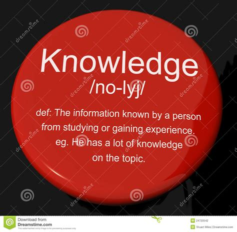 L Of Knowledge Meaning by Knowledge Definition Button Showing Information Intelligence And Stock Illustration Image