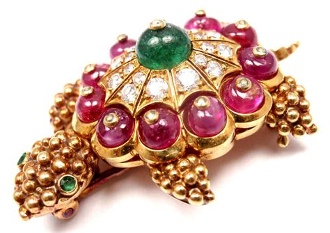 Ruby 11 5ct cleef and arpels emerald ruby gold turtle pin