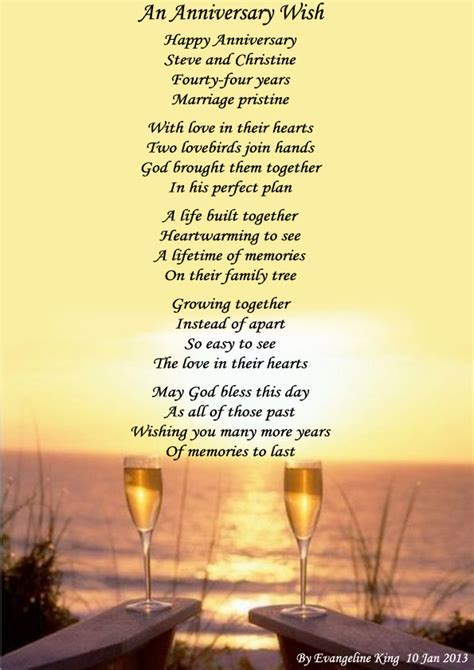 AN ANNIVERSARY WISH (Steve & Christine)   Poems about