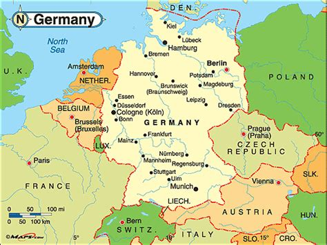 germany map political germany political map by maps from maps world s