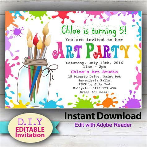 free printable art invitations editable printable art party invitation children s