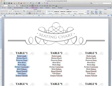 free printable wedding seating chart template template