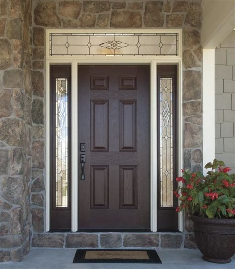 Fiberglass Front Door With Sidelights Versatile Durable Fiberglass Front Doors With Decorative Glass Sidelights And Transom Add Style