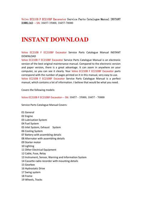 service manual free download parts manuals 1993 volvo 240 auto manual 2005 volvo s40 parts volvo ec210b f ec210bf excavator service parts catalogue manual instant download sn 10457