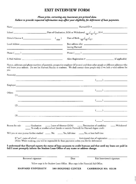 Exit Agreement Template hr exit form