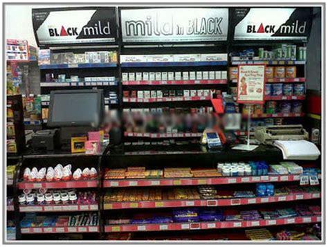 Rak Pajangan Minimarket lemari display fashoin meja kasir counter software