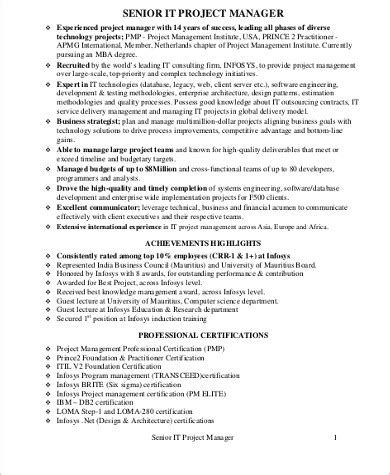 senior project manager resume format 9 sle it project manager resumes sle templates