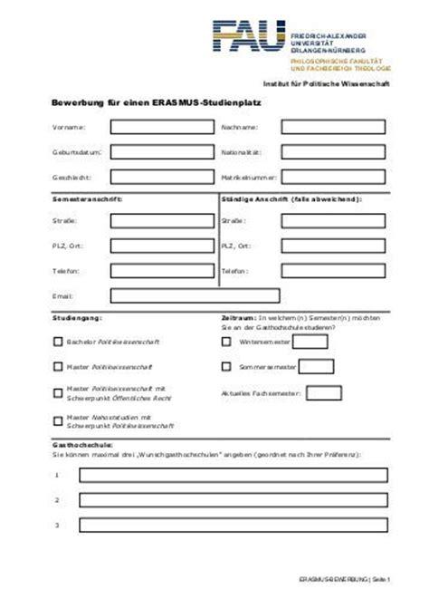 Bewerbungsformular Uni Freiburg Bewerbungsformular