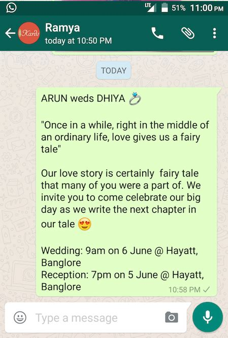 wedding announcement app creative ideas for whatsapp wedding invitation