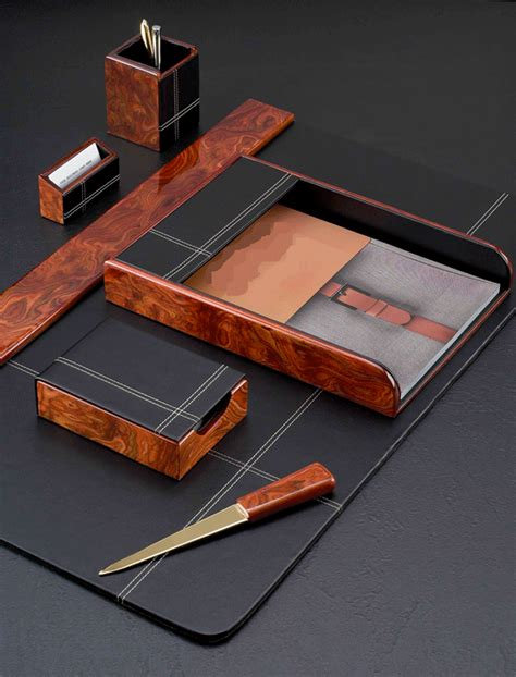 Desk Blotters And Accessories Burled Wood And Leather Six Desk Blotter Set With