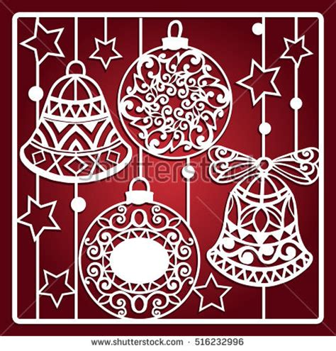 wood cutting templates card bells laser cutting laser stock vector