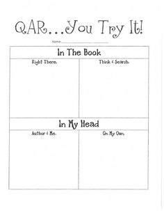 qar template q a r on question stems reading strategies