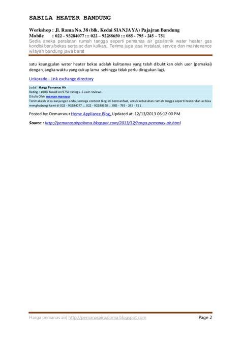 Daftar Water Heater Gas Murah daftar harga pemanas air water heater gas listrik