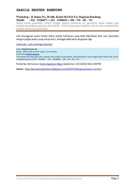 Water Heater Listrik Bandung daftar harga pemanas air water heater gas listrik