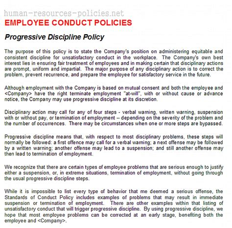 progressive discipline template sle human resources policies sle procedures for