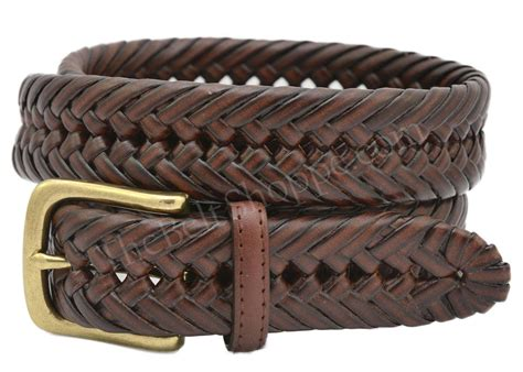 hilfiger s braided weaved leather dress belt