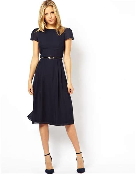 asos simple midi skater dress with belt in blue navy lyst