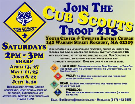 cub scout business card template cub scout pack meeting flyer newsletter idea pack