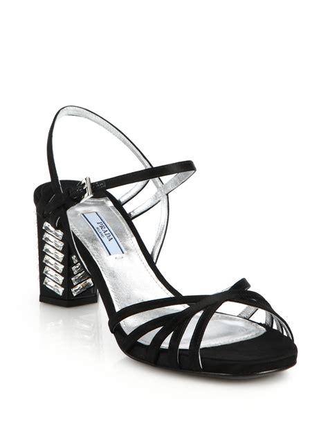 Prada Swarovski 1 prada swarovski block heeled satin sandals in